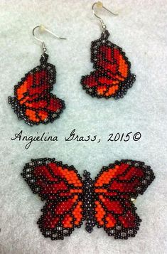 butterflies beaded monarch butterfly pin and earrings set i used my monarch butterfly pattern in the link below to create this set. for the earrings i beaded half of the butterfly. Beaded Earrings Patterns, Seed Bead Patterns, Seed Bead Earrings, Hoop Earrings, Bracelet Patterns, Native Beading Patterns, Beaded Necklaces, Seed Beads, Stitch Patterns
