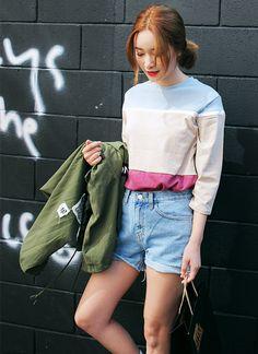 [Stylenanda] Torn Cut-Off Denim Shorts Korean Street Fashion, Asian Fashion, Frock For Women, Stylenanda, Korean Outfits, Womens Fashion Online, Pop Fashion, Jeans Style, Shirt Outfit