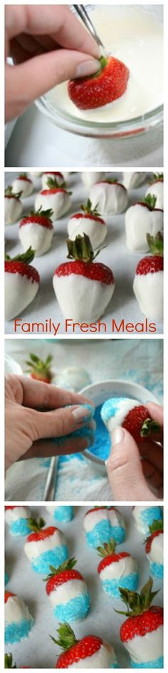 Love these strawberries for Memorial Day weekend or Fourth of July!