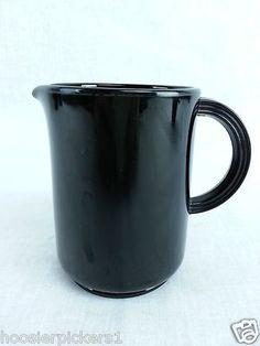 "Black Amethyst Glass Creamer Pitcher 4 3/8"" tall 3"" diameter Vintage"