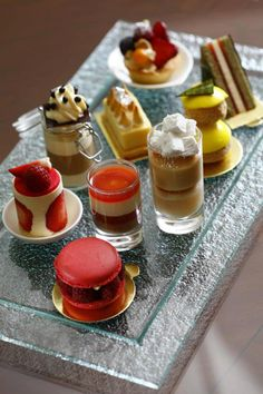 These tiny treats - including a lemon creme caramelized meringue, a litchee mango jelly with mascarpone caramel, and a raspberry rosewater macaron - are part of the dessert plate at @Four Seasons Hotel Istanbul. #FSTaste