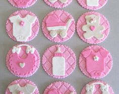 Trendy Ideas For Cupcakes Baby Shower Bebe Fondant Toppers Fondant Cupcakes, Fondant Baby, Fondant Toppers, Pink Cupcakes, Deco Baby Shower, Girl Shower, Baby Cookies, Baby Shower Cookies, Cupcake Cookies