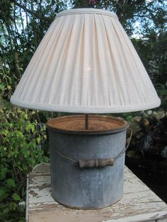 Minnow Bucket Upcycled into a Table Lamp