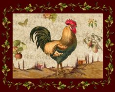 Rooster, Hen paintings printed onto Tile Murals, Rooster Images, Rooster Art, Rooster Decor, Image Painting, Painting Prints, Country Kitchen Backsplash, Country Kitchens, Tile Murals, Ceramic Knobs