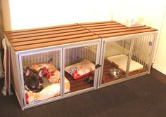 インテリアを邪魔しない!犬のケージアイデア☆ Diy Bunny Cage, Dog Room Decor, Raised Dog Beds, Dog Gadgets, Dog Spaces, Pet Hotel, Cat Cages, Diy Dog Bed, Crate Furniture