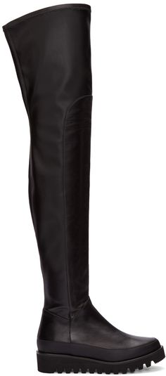 17695835e02 Marcelo Burlon County of Milan - Black Leather Over-The-Knee Boots