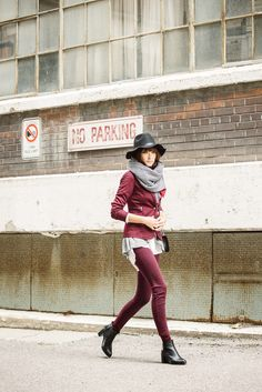 wearing: white blouse, felt hat, cardigan, blazer, pants, scarf & socks, all from smart set