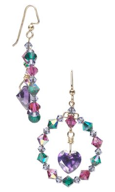 Earrings with Cubic Zirconia Drops and Swarovski Crystal Beads - Fire Mountain Gems and Beads