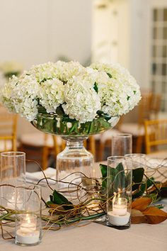hydrangea wedding centerpieces. Photography by candicekphotography.com.