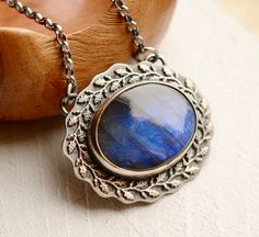 Detailed Silver Labradorite Necklace Textured by EONDesignJewelry