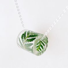 Resin Tube Necklace with Fern. Resin by SpottedDogAsheville