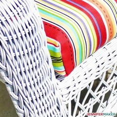 How to Recover Patio Cushions the Easy Way! Outdoor Chair Cushions Diy, Recover Patio Cushions, Patio Cushion Covers, Wicker Furniture Cushions, Recover Chairs, Outdoor Furniture, Upholstered Furniture, Furniture Ideas, All You Need Is