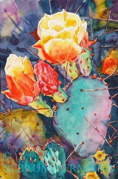 Margarethe Brummermann Watercolors: Cactus Flower Time such beautiful colors Cactus Painting, Cactus Art, Cactus Flower, Flower Art, Cactus Plants, Cacti, Cactus Decor, Flower Ideas, Watercolor Succulents