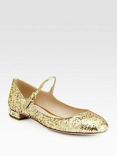#Miu Miu Glitter Rhinestone-Heel Mary Jane Flats