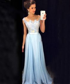 Fashion Blue Prom Dress,Chiffon Prom Dress,Pretty Evening Dress,High