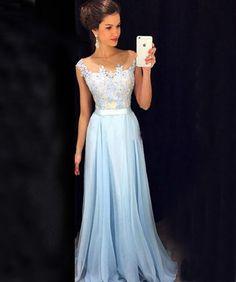 Fashion Blue Prom Dress,Chiffon Prom Dress,Pretty Evening Dress,High