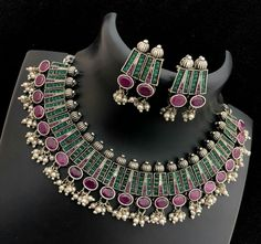 Buy online Green And Pink Stone Work Necklace Set Online.Shop more Handloom Stone Work Necklace Set at Luxurionworld. Lotus Design, Stone Work, Pink Stone, Paper Quilling, Stone Earrings, Women Empowerment, Necklace Set, Artisan, Arts And Crafts