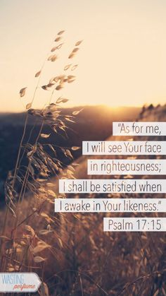 Psalm 17:15 Amplified Bible (AMP) 15 As for me, I will continue beholding Your face in righteousness (rightness, justice, and right standing with You); I shall be fully satisfied, when I awake [to find myself] beholding Your form [and having sweet communion with You] ...10-2-13