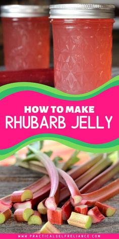 Rhubarb jelly is a special spring treat, and naturally tart rhubarb is perfect for a sweet-tart jelly to preserve your spring garden's harvest! Jelly Recipes, Jam Recipes, Cooking Recipes, Sweet Recipes, Dinner Recipes, Home Canning Recipes, Rhubarb Canning Recipes, Healthy Rhubarb Recipes, Rhubarb Jelly
