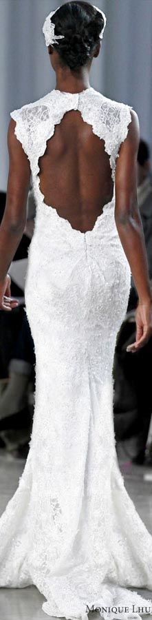 Monique Lhuillier fall 2013 - Keira lace sheath wedding dress keyhole back