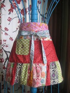 apron, ruffles, tie in front, patchwork