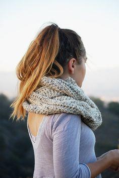 * crochet infinity scarf in oat * longest scarf in the shop right now! → crochet extra long infinity scarf in oat.  →