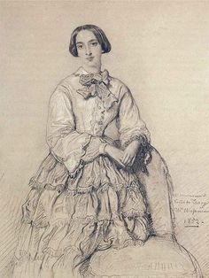 Portrait of Comtesse du Magnoncourt, née Mary de Tracy, Théodore Chassériau, 1852, Graphite Heightened with White