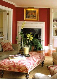 Love the upholstered ottoman/coffee table and the red walls with white trim! My Living Room, Home And Living, Living Spaces, Design Salon, Red Rooms, Red Walls, Home Interior, Interior Designing, Interior Ideas
