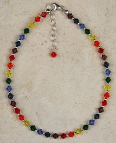 Anklet - Chakra Colors, Crystal Beads with Chain Extension Sterling Silver Anklet, Silver Anklets, Beaded Anklets, Anklet Jewelry, Yoga Jewelry, Beaded Necklace, Beaded Bracelets, Jewlery, Necklaces