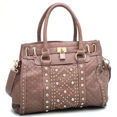 Tan Adjustable Satchel Handbag w/Gold Studs & Rhinestones Lock   eBay