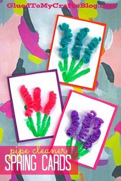 Pipe Cleaner Spring Flower Cards #gluedtomycrafts
