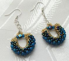 Gold and blue peyote earrings | Beads by Roni