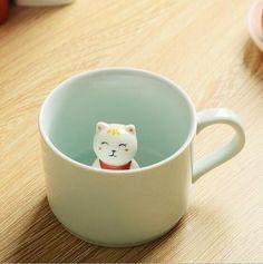 Creative design cute 3d animal porcelain mug for coffee