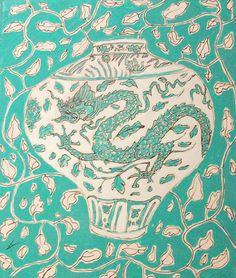 Green Chinese Vase II by KateKennedyArt on Etsy, $50.00