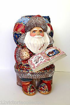 Russian SANTA Wooden Hand Carved Hand Painted SIGNED Father Frost