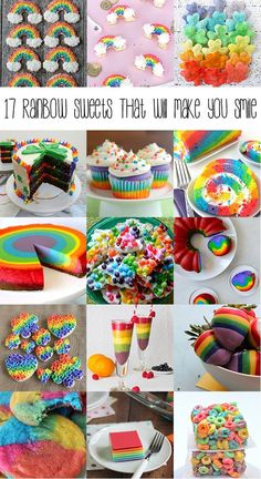 17 rainbow sweets - perfect St. Patricks Day treats or just for fun!