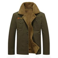 Mens Thick Fleece Turn-down Jacket Fashion Warm British Style Outdoor Casual Winter Coat - Banggood Mobile