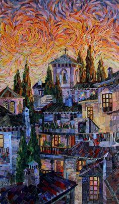 Мозаичная картина Горящий балканский закат