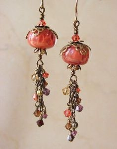 JLynnJewels Earrings - Handmade Boro Lampwork beads by Amanda Austin with Vintaj Brass findings and Swarovski Crystals