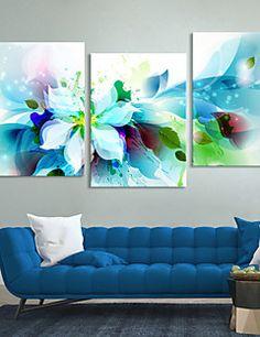 conjunto de lona de 3 flores azules abstractas modernas lien... – USD $ 52.99