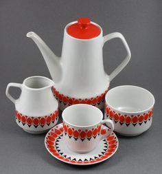 Chodziez Poland Ceramic Coffee Service Set by StevieSputnik, $80.00
