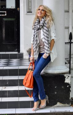 everyday basics with bright handbag and neutral striped scarf and heels