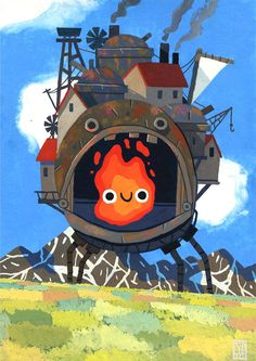 Ghibli Tribute Posters on Behance, Howl's Moving Castle Hayao Miyazaki, Studio Ghibli Films, Art Studio Ghibli, Howl's Moving Castle, Totoro, Film Animation Japonais, Personajes Studio Ghibli, Illustrators, Anime Art