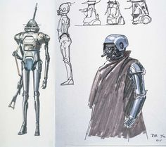 Ralph McQuarrie's design sketches for Boba Fett and various other bounty hunters