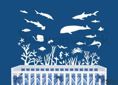 Under the Sea Wall Decal - Fish Wall Decal - ocean scene whale shark seaweed coral wall art - SMALL version - K214S