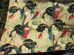 Vintage Asian Geisha Fabric, Alexander Henry Collection by Neatcurios on Etsy