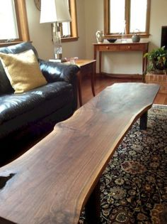 44 Awesome Wooden Coffee Table Design Ideas Match For Any Home Design. You likewise should think of what you anticipate utilizing the table for. Wooden Slab Table, Wooden Coffee Table Designs, Diy Coffee Table, Wood Slab, Walnut Slab, Walnut Coffee Table, Wood Tables, Live Edge Furniture, Rustic Furniture