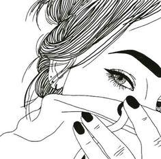art, noir, griffonnages, dessin, dessins, sourcils, mode, fille, grunge, indie, cheveux en désordre, ongles, blanc, First Set on Famin.com