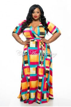 6332119a6f0 New Plus Size Long Wrap Dress w  Short Sleeve and Tie in Multi- Color
