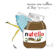 Nutella illustration Isma b - Homemade Nutella Recipes, Poster Print, Nutella Cookies, Illustration Art, Illustrations, French Quotes, Food Humor, Clipart, Cute Wallpapers